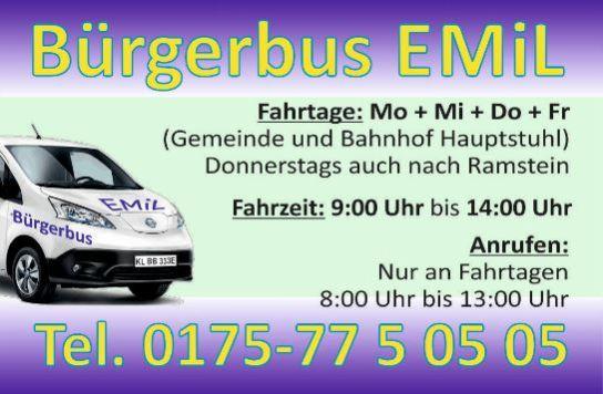 Fahrzteiten des Bürgerbus Emil