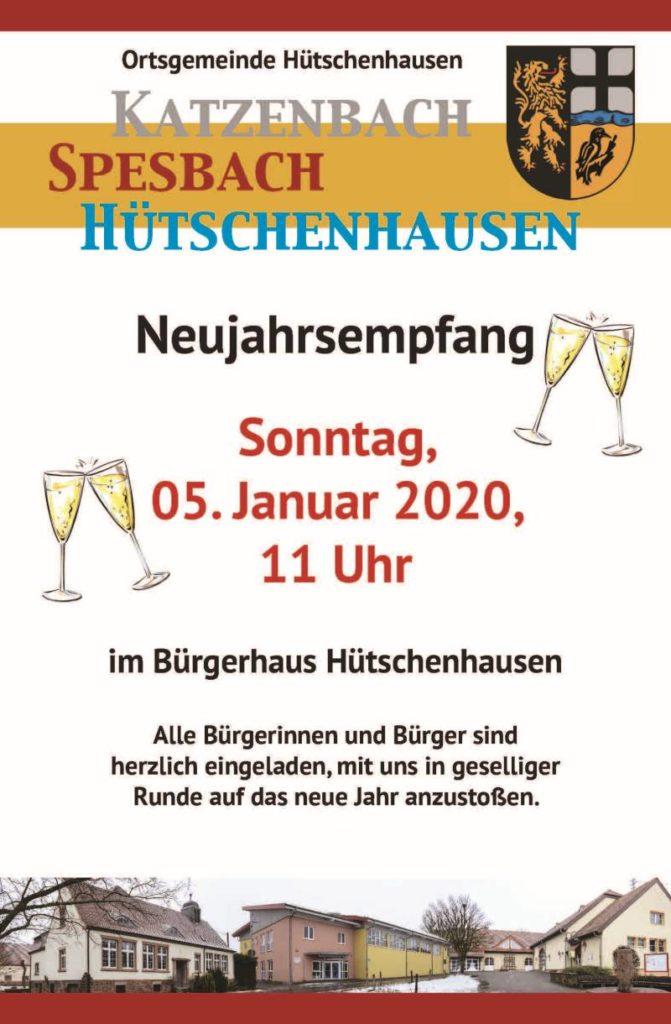 Plakat des Neujahrsempfangs der Ortsgemeinde Hütschenhausen